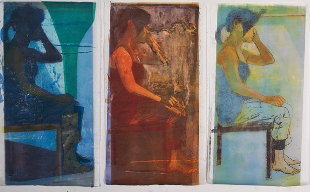 """Collect Calls"", Woodcut, Monotype, and Chine Colle on mulberry paper, 53""x30"""