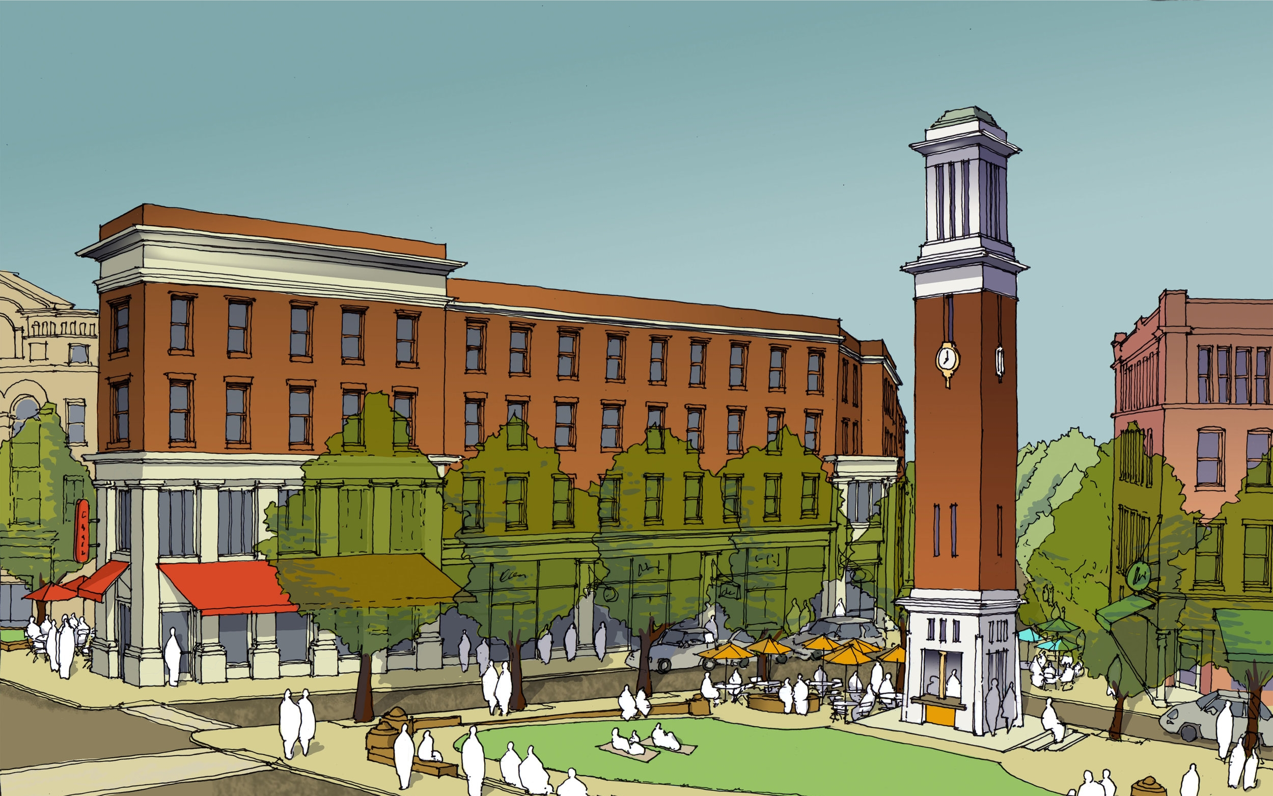 Perspective view looking towards the proposed Gilman Square from the subway station.
