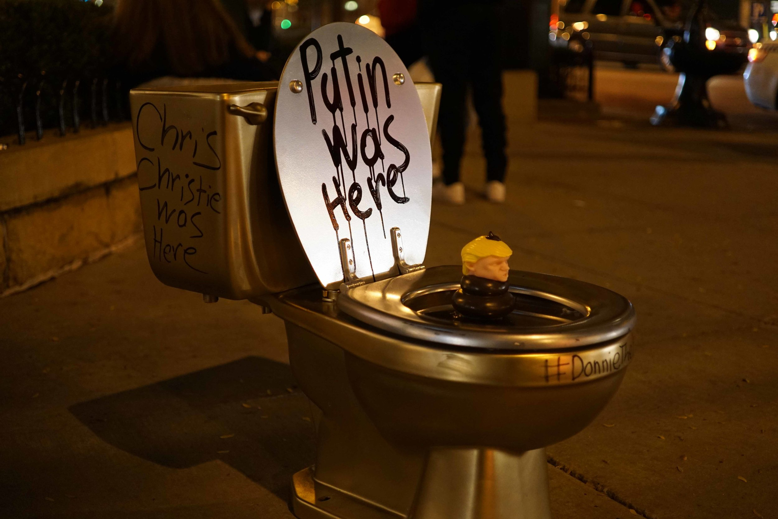 Donald Trump Donnie The Poo 2016 Birch Reincliff Golden Toilet Golden Elephant 2 street art illegal advertising political art 2.jpg