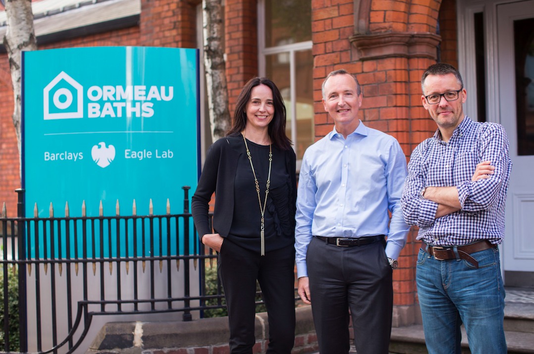 Sarah with Adrian Doran, Ormeau Baths Partner and Head of Corporate Banking for Barclays in Northern Ireland, and co-founder Jon Bradford.