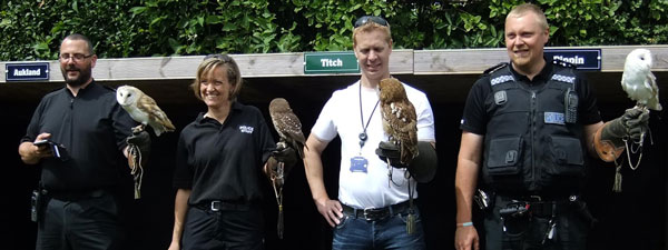Officers looking confident in their new bird handling skills