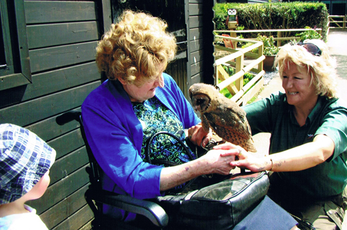 One of our oldest supporters meets one our youngest owls!