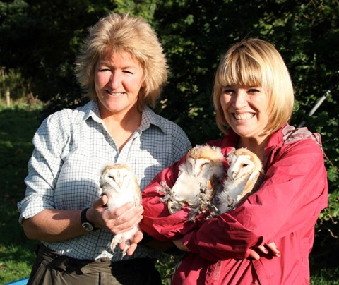 All's well that ends well - Maz and Bridget with the trio of owlets.