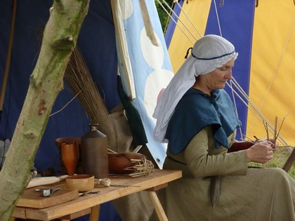 The Mediaeval encampment hosted demonstrations of contemporary crafts...
