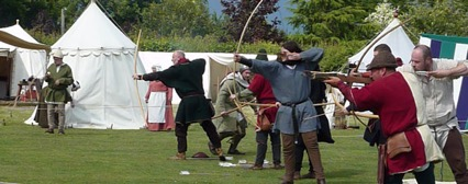 Longbowmen took part in a competitive shoot-out...