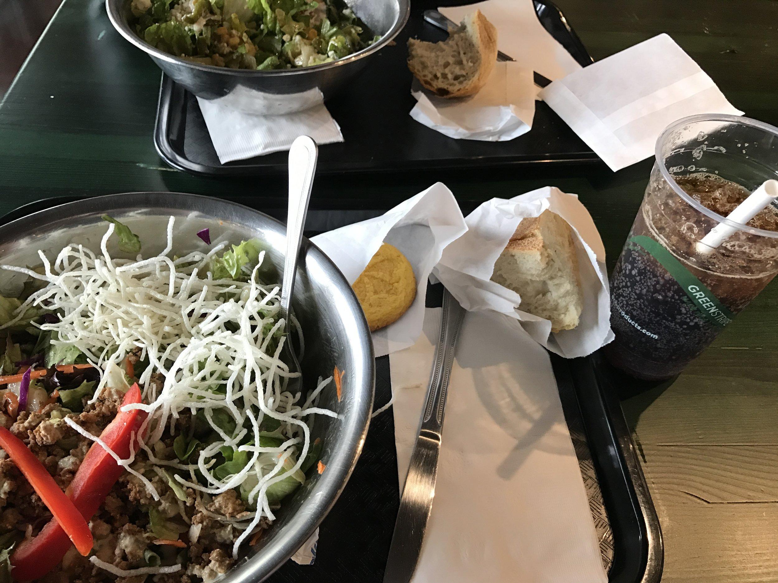 "~350 calorie ""ponzu chicken salad"" 150 calorie bread, 100 calorie cookie, and zero calorie local made soda"