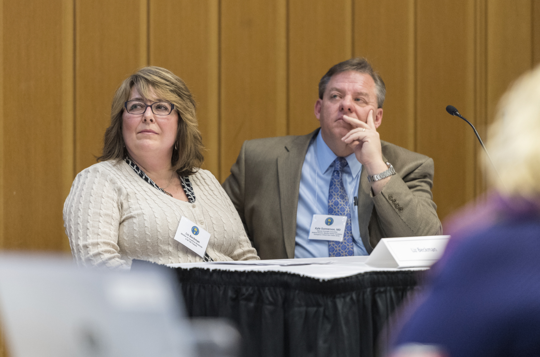 Liz Beckman sits with Kyle Gunnerson, MD, director of the EC3.