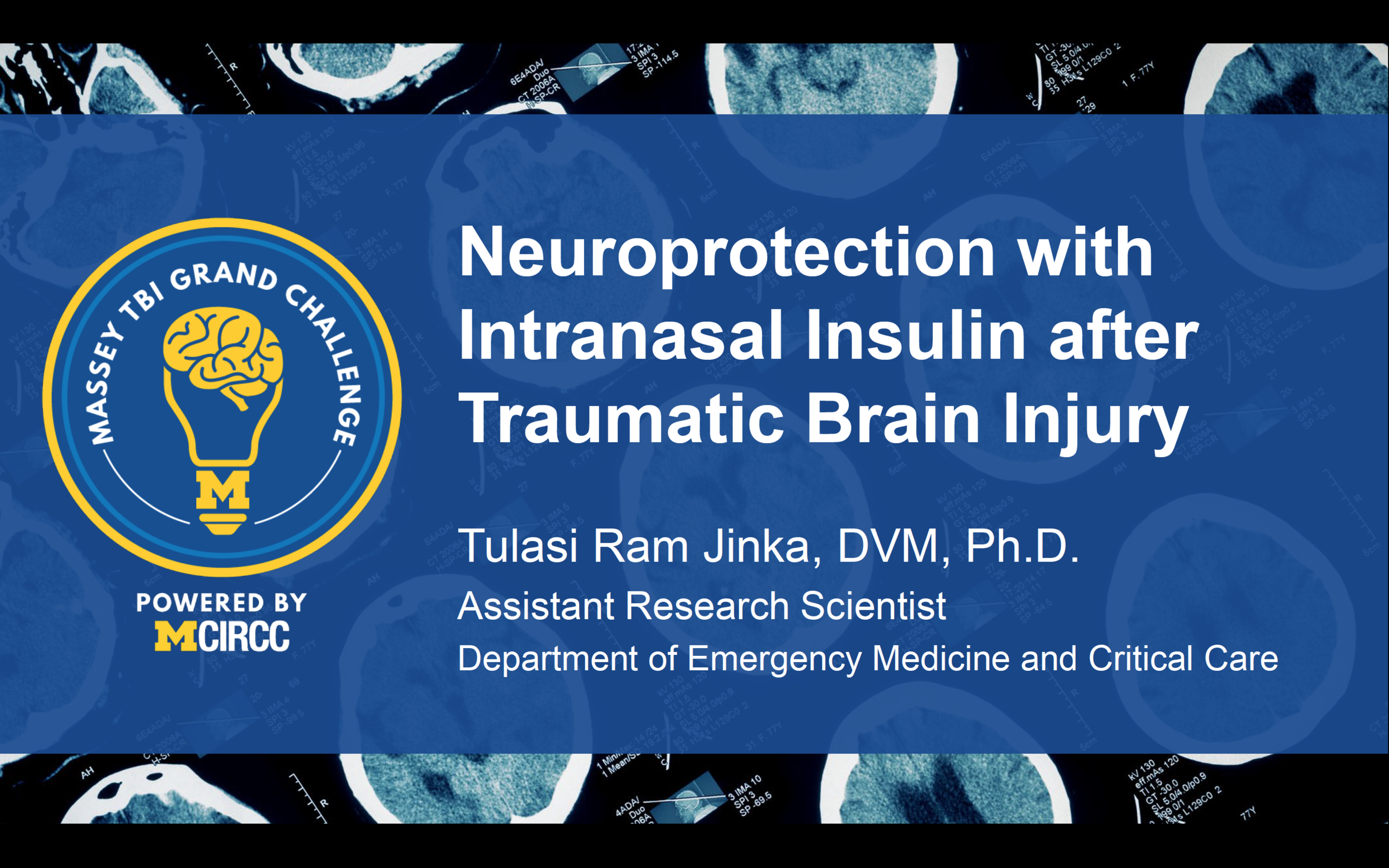 The intranasal delivery route makes it feasible for paramedics or combat medics to initiate therapy for TBI within minutes of injury. Intranasal Insulin therapy is already in clinical trials for Alzheimer's disease and stroke. The group sought to demonstrate the neuroprotective effect of early high-dose intranasal insulin. They proposed a rigorous translational approach to evaluate and optimize a novel drug delivery strategy that can be initiated soon after injury by non-medical providers as a highly effective and low-cost neuroprotective treatment for TBI patients.