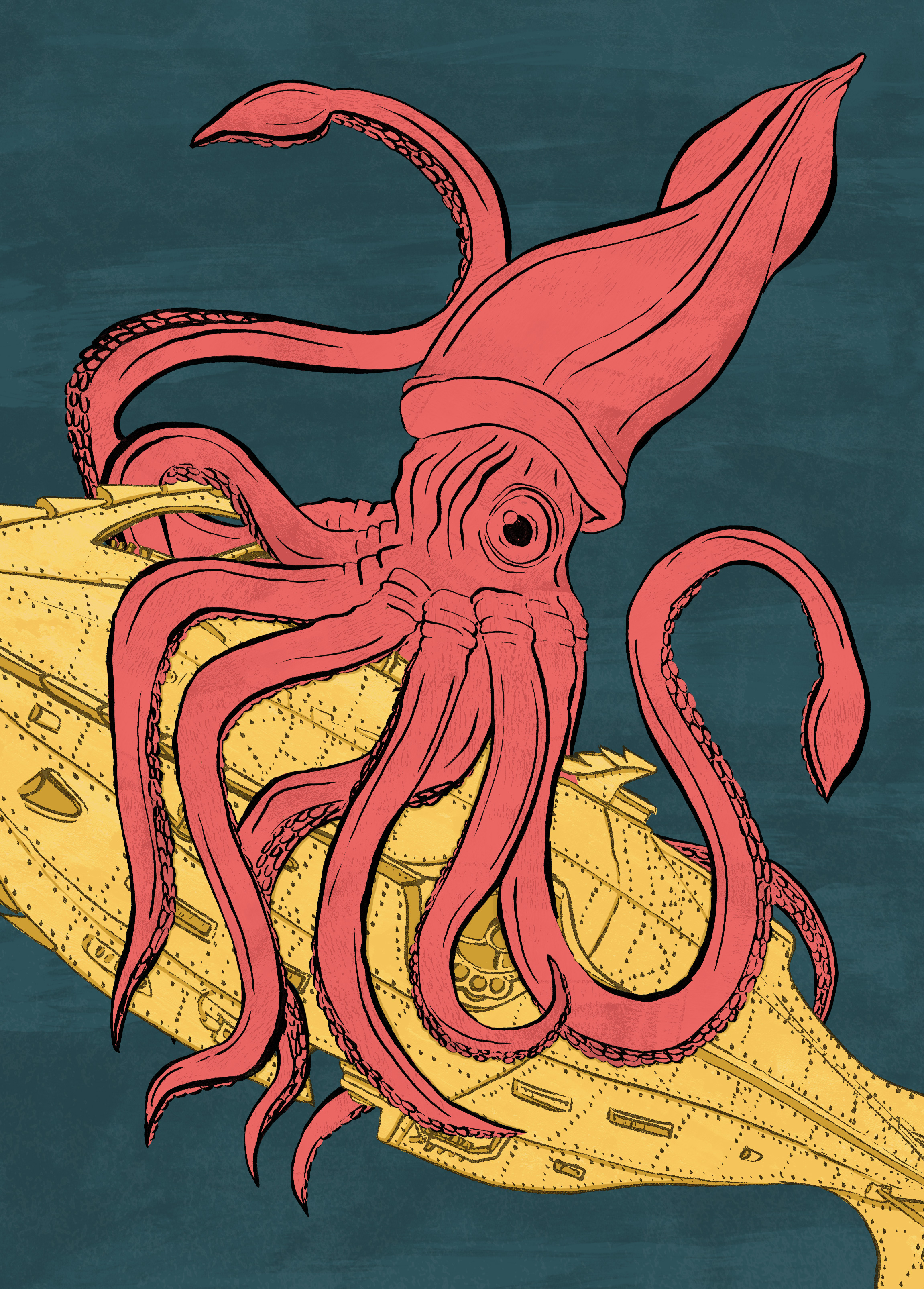 Kraken attacks... - This illustration is my representation of the fabled 'Kraken' attacking the Nautilus.