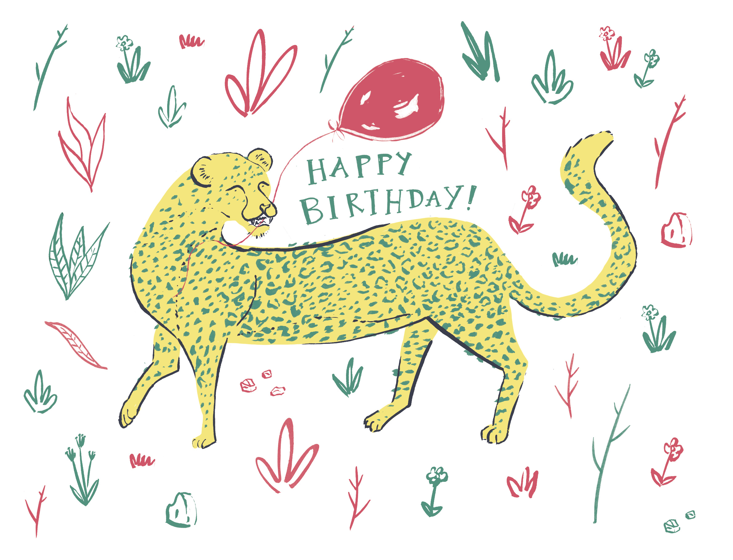 Birthday leopard - A personal card design for my online store, coming A/W 2018.