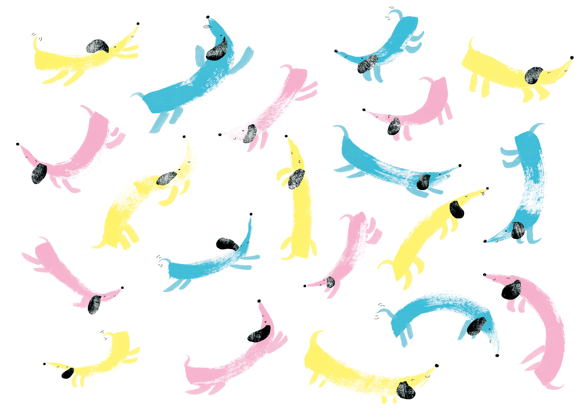 MARK-MAKING SAUSAGE DOGS FOR A CARD IN THE SIMPLY CLINTONS SPRING RANGE