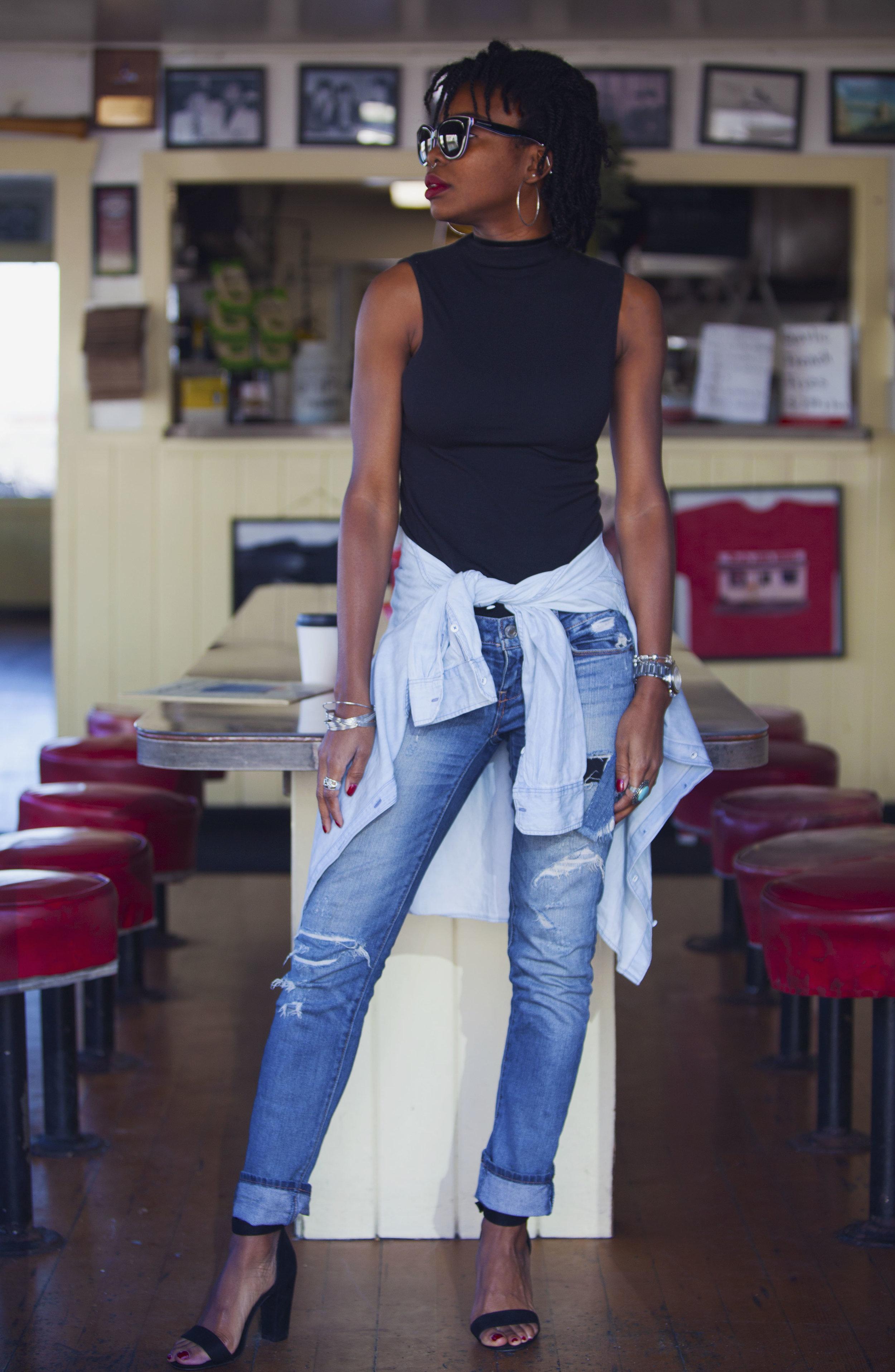 Tank: Mossimo (c/o Target); Shirt (tied): Banana Republic; Jeans: American Eagle; Shoes: Cape Robbin (c/o Target); Sunglasses: Dolce & Gabbana; Bag: Coach