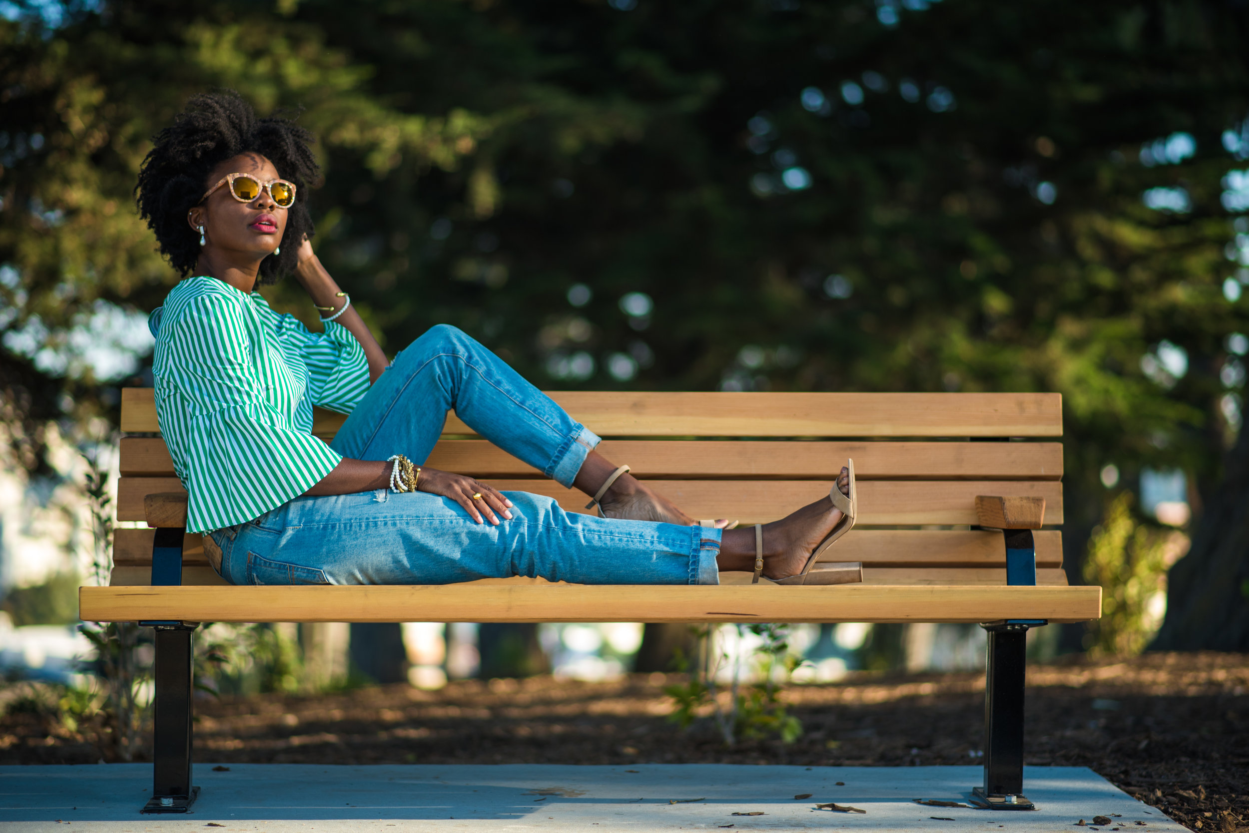 Shirt: Zara; Pants: Abercrombie & Fitch; Shoes: Report; Sunglasses: Dolce & Gabbana; Ring (right): Khiry; Wallet: Kate Spade