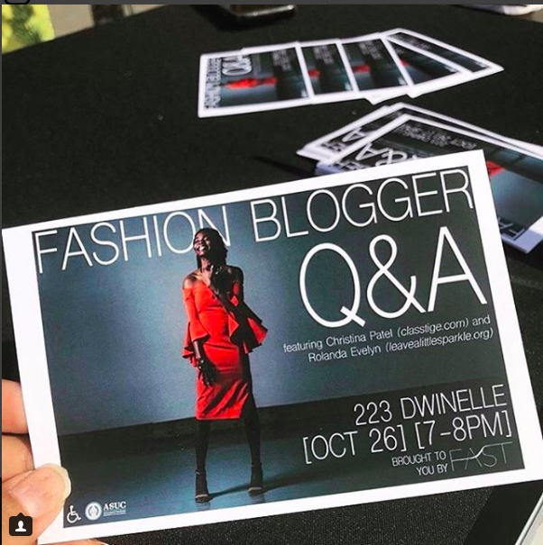 leave a little sparkle as featured as a panelist on UC Berkeley's 'Fashion Blogger Q&A' alongside @classtige [10/26/17]