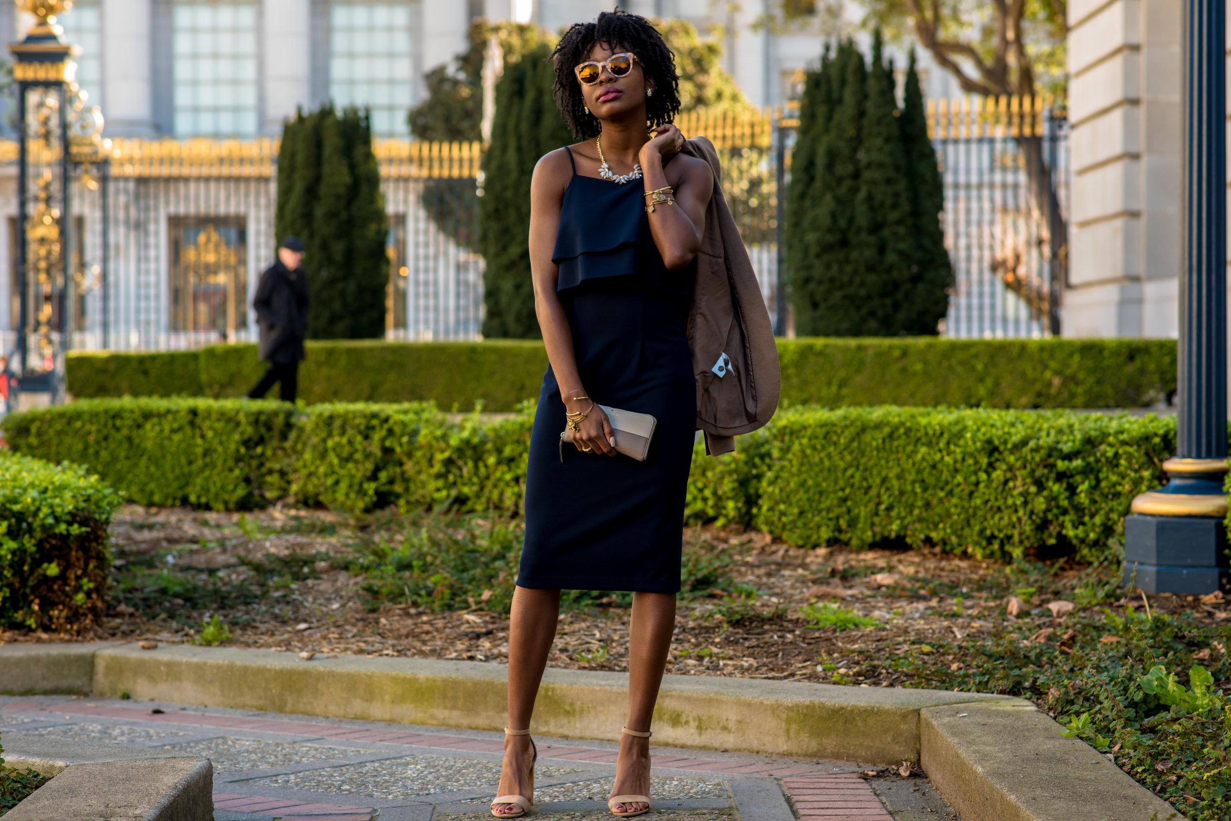 Dress: Le Tote; Blazer: H&M; Shoes: Report; Necklace: Le Tote; Clutch: Kate Spade; Sunglasses: Dolce & Gabbana