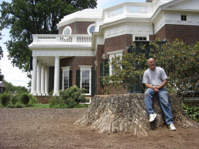 J Jewell at Monticello in 2008 after the tulip poplar came down