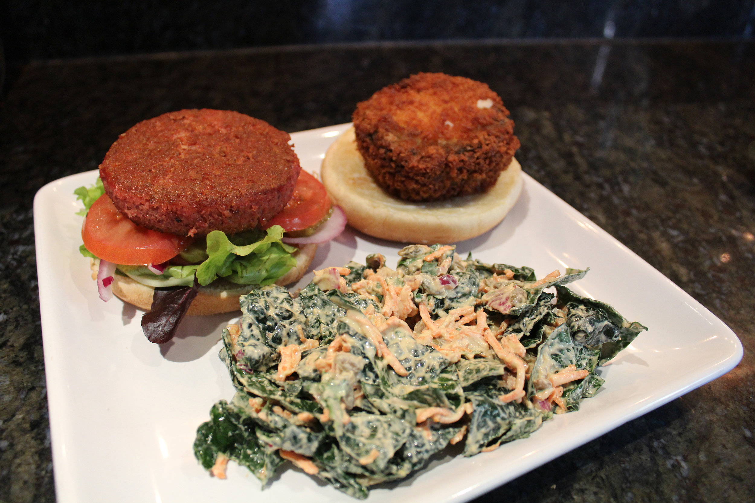 The Beyond Burger meets True Burger! Served with Kale Salad.