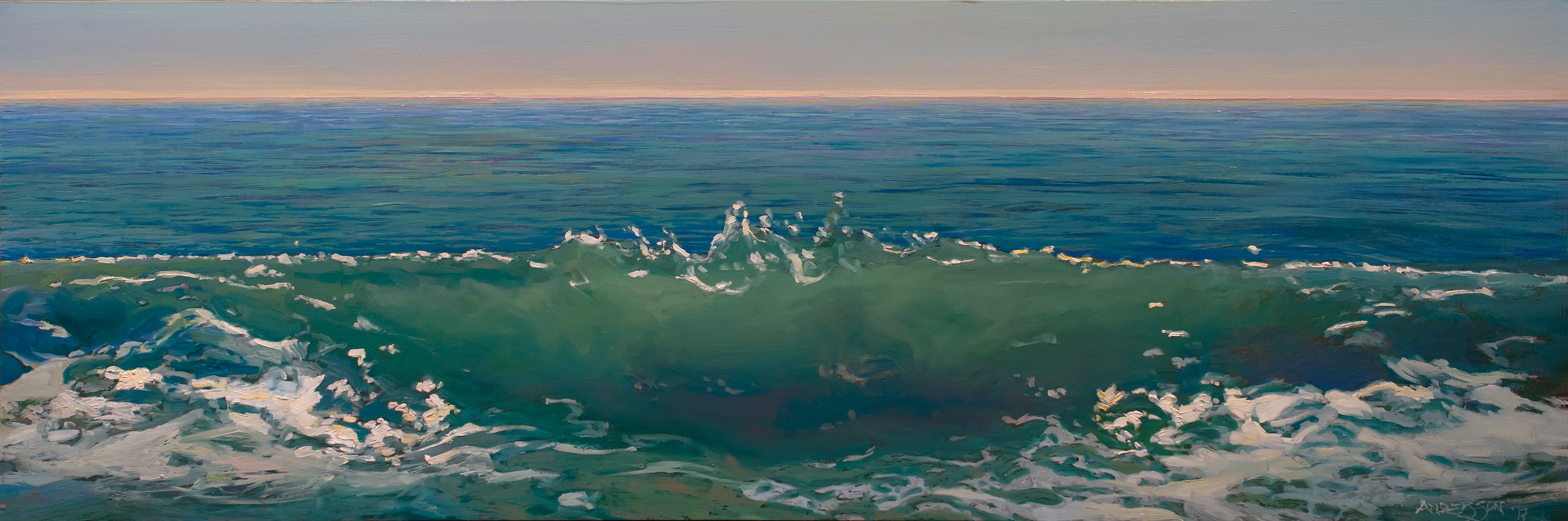 "OCEANUS, NO. 4   12"" x 24"" oil on panel"