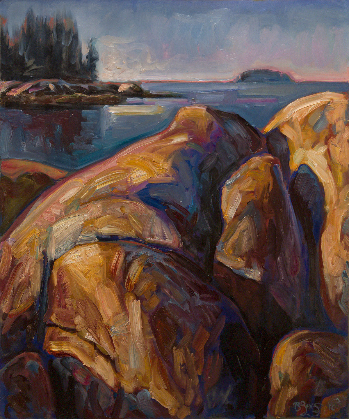 "SAND BEACH, NO. 7   24"" x 20""  oil on paper on panel"