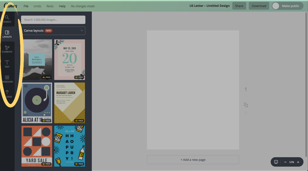 Getting started with a blank letter design template in Canva.