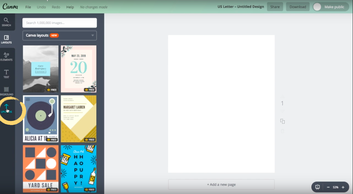 How to upload your own images in Canva.