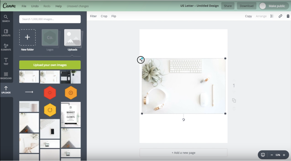 How to resize an image in Canva.
