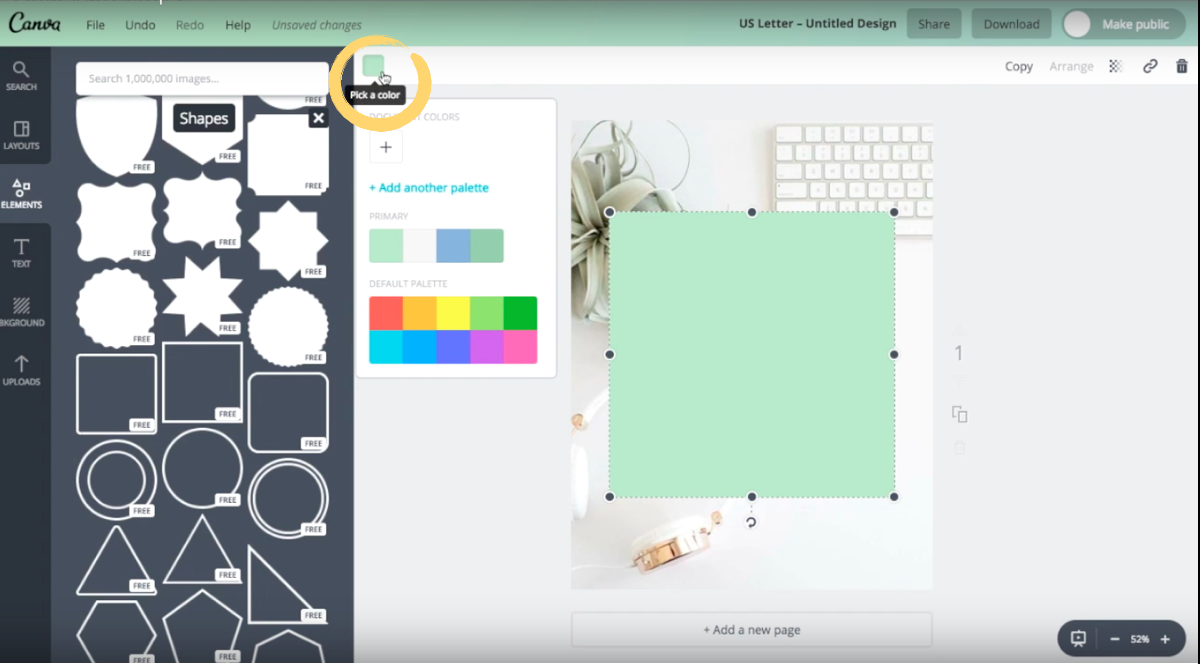 How to change the color of a shape element in Canva.