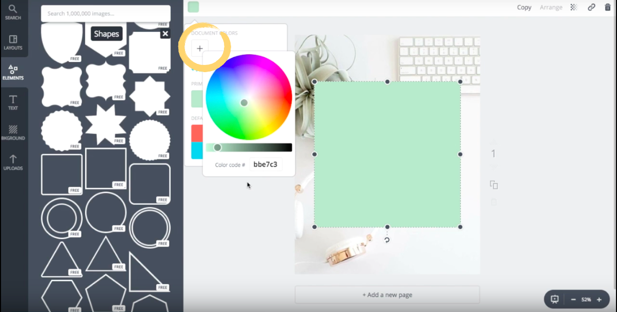 How to customize the color of a shape element with a hex color code in Canva