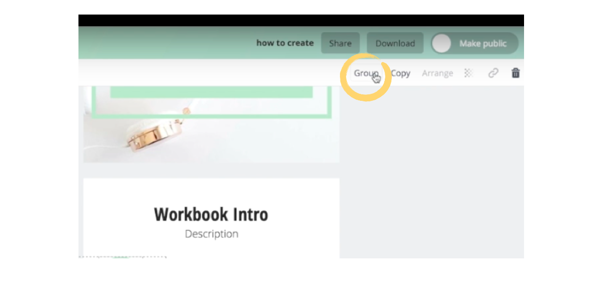 Click the 'Group' button to group selected elements in Canva.