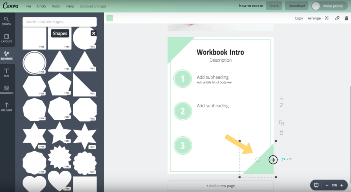 Example of newly rotated position of triangle shape element in Canva.
