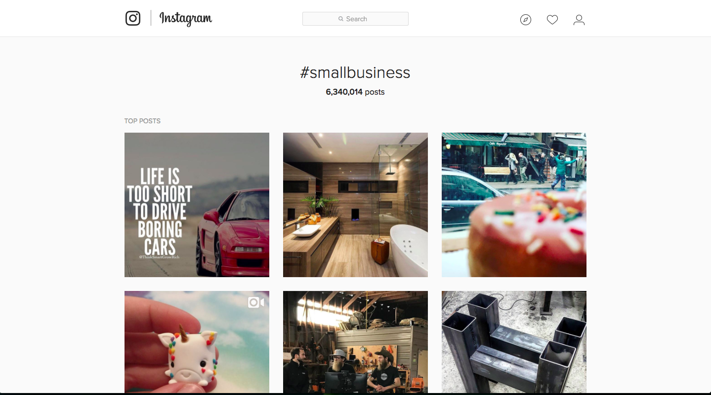 Instagram hashtag search results for '#smallbusiness'.