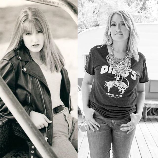 """A little then and now side by side throwback. 😂 1997 when leather, mom jeans and sepia tone were the jam!  ps: I still wear """"mom"""" jeans and proud of it! 😉 #musicbizdays #90scountry #15goingon30 #downcameablackbird"""