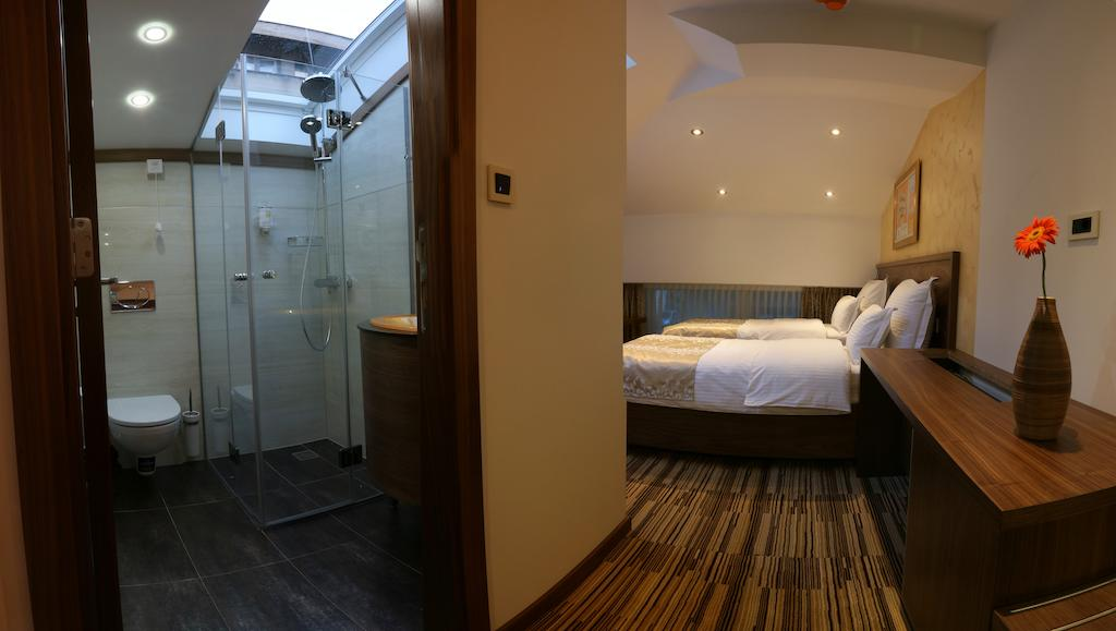 Hotel Room and Bathroom