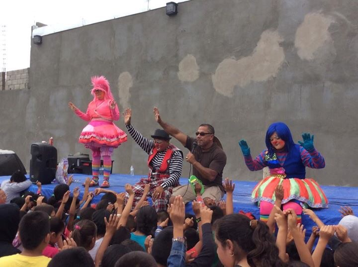 The clowns were a fun source of entertainment for the crowd.