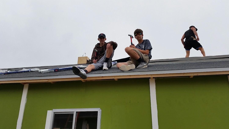 Bryce and Josiah 'shingling'