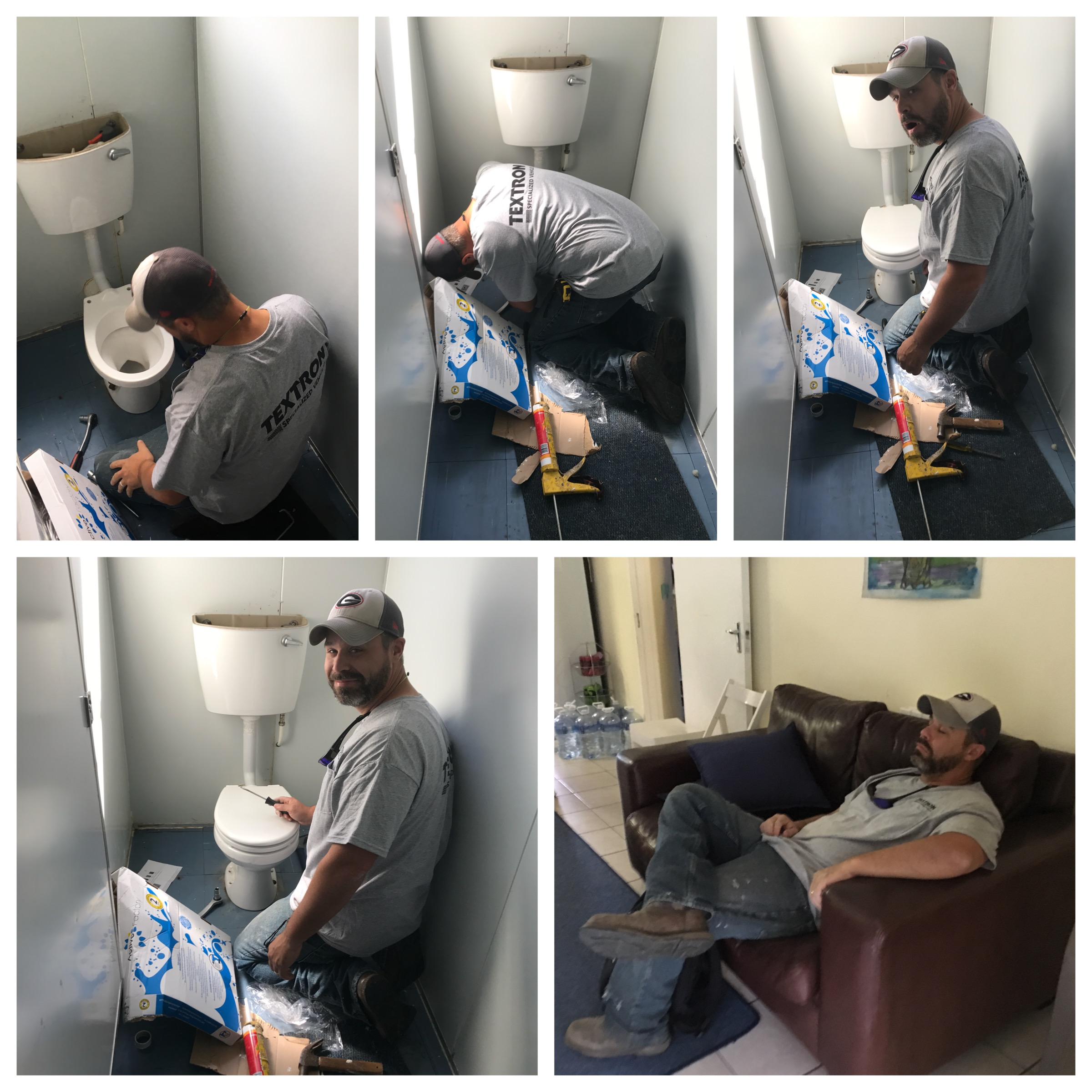 A man and his toilet. 😂 All that fixing called for a nap!