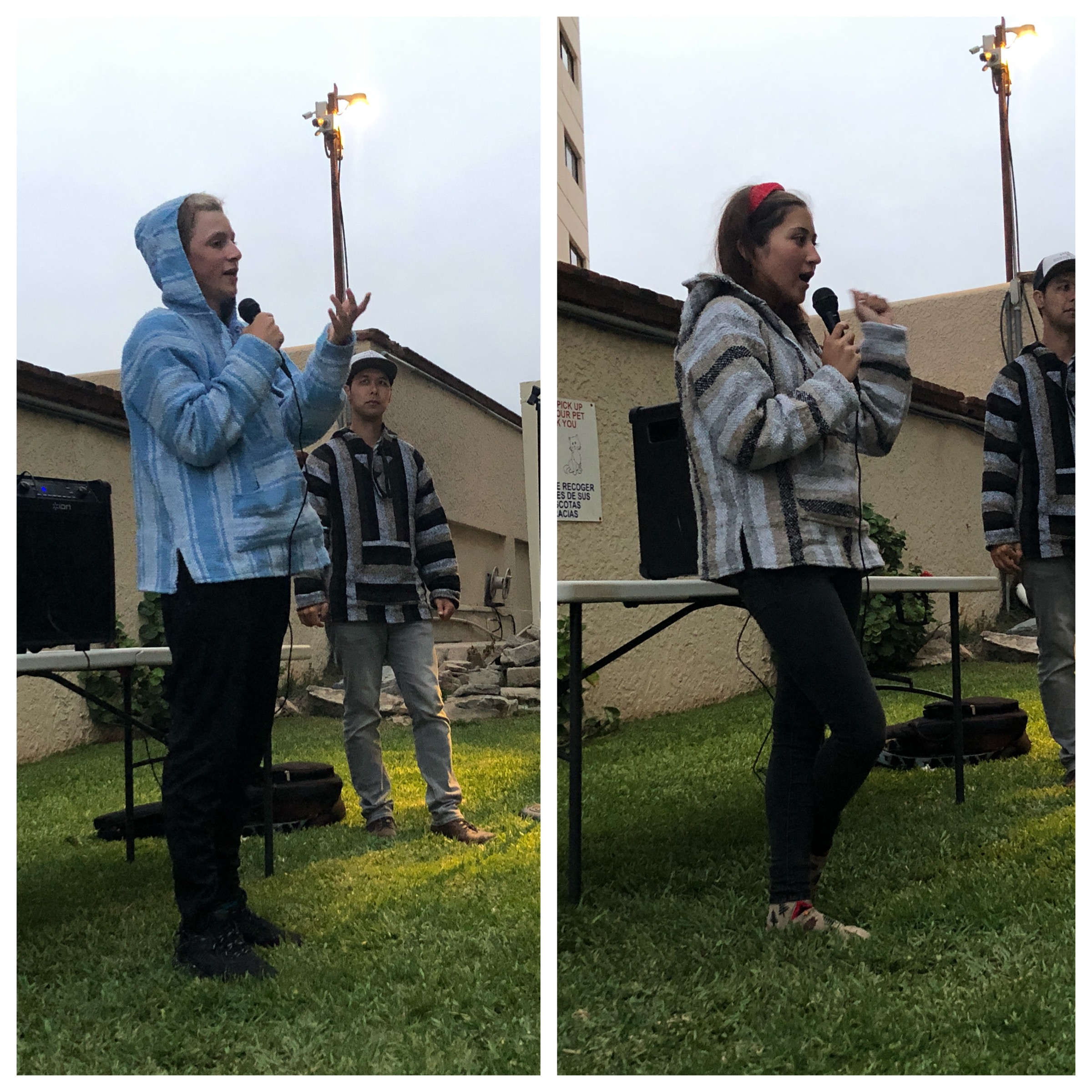 Avery and Hannah G testifying before the group in the evening worship time about how God had impacted their life today.