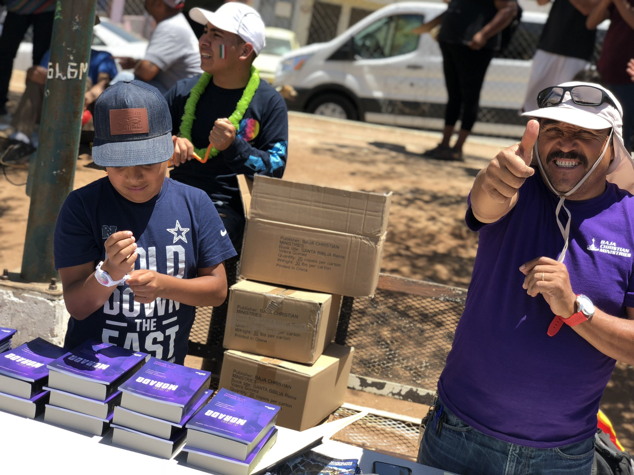 On a much more important note, we gave out purple books and Bibles to people who haven't yet received them this week! The purple book is an awesome discipleship book that helps believers to strengthen their faith and knowledge. As you can see, we had a great time today. The fiesta was so much fun for us and for the village people, and we shared the gospel with so many new people! Thank you again everyone for the comments and support! We love and miss you guys!