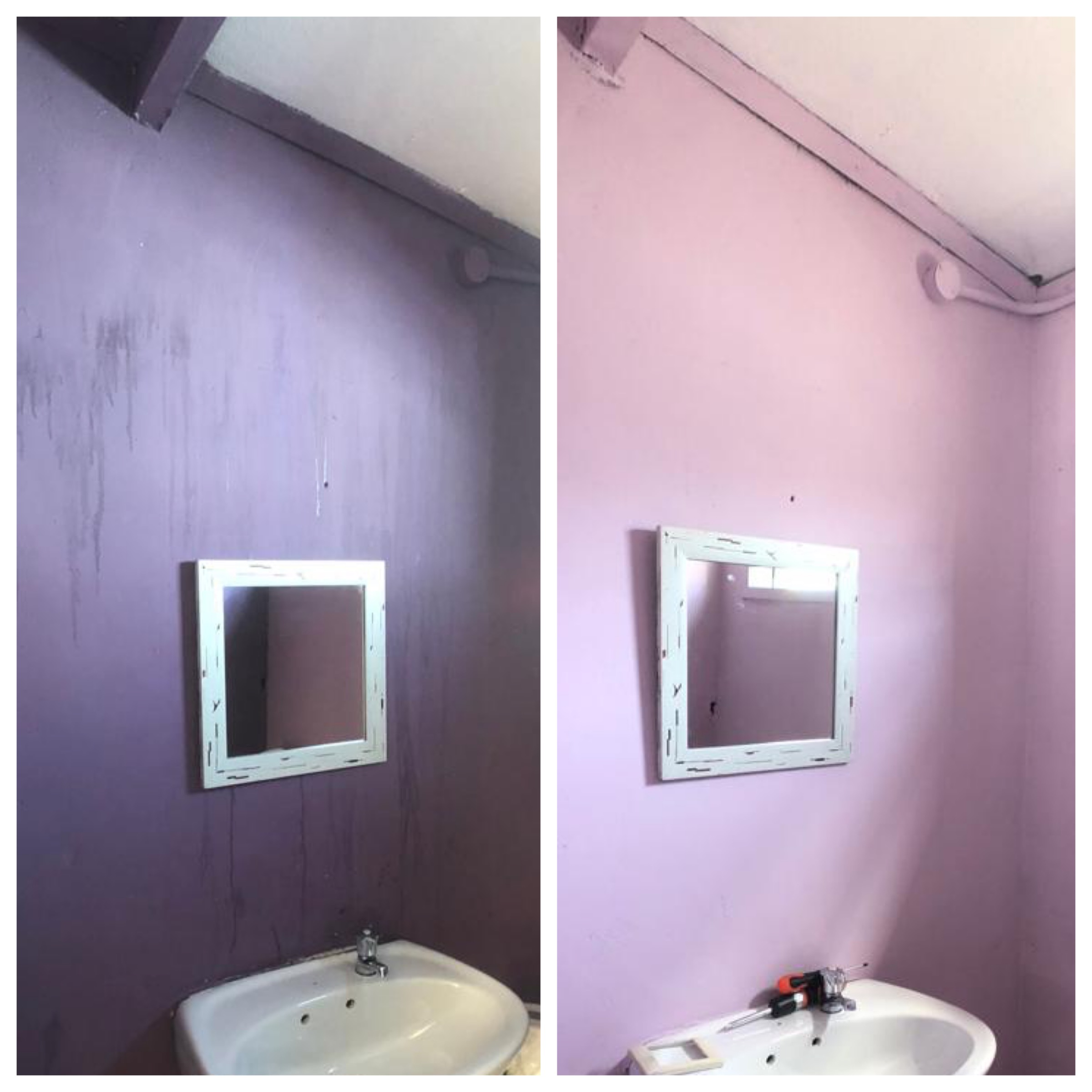 Anjelica worked in this bathroom tirelessly. BEFORE AND AFTER!! Thabisa was thrilled to have a bright bathroom in her office! Kyle and Jack also changed out light fixtures and fixed the switch so they would actually turn on. What a team!