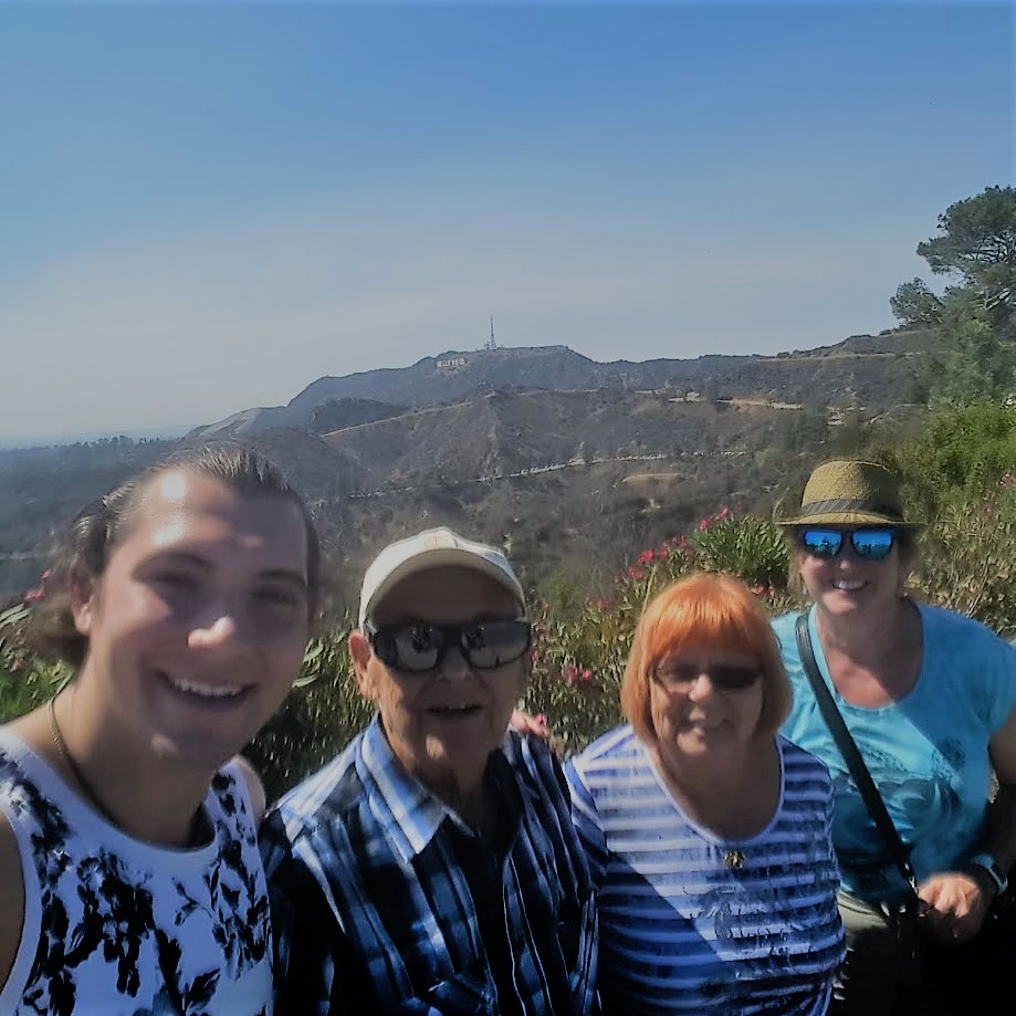 Here we are, fitting ourselves into one selfie with the  HOLLYWOOD sign  in the background.
