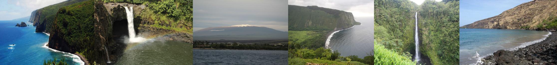 Six locations were used with 30-50 images for each. From left to right: Pololu Valley, Rainbow Falls, Mauna Kea, Waipi'o Valley, Akaka Falls, Kealakekua Bay
