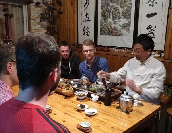 Chen was sharing Gu Zhu Zi Sun with visiting students from Germany.