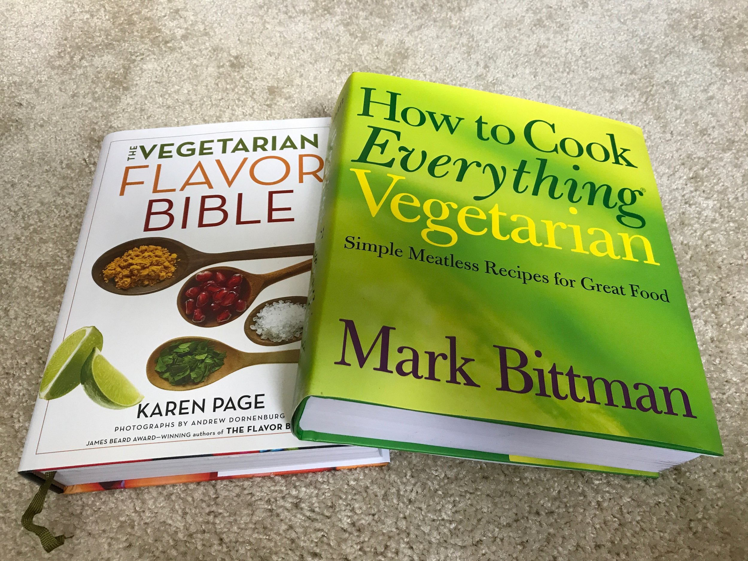 The best two books for starting out - How to Cook Everything Vegetarian;Literally any dish you could wish to make is catalogued in this encyclopedia The Vegetarian Flavor BibleEvery food and what seasonings and foods it pairs with. Perfect for those wanting to create their own dishes