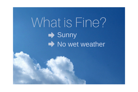 What is Fine? Is the answer Sunny or No wet weather?