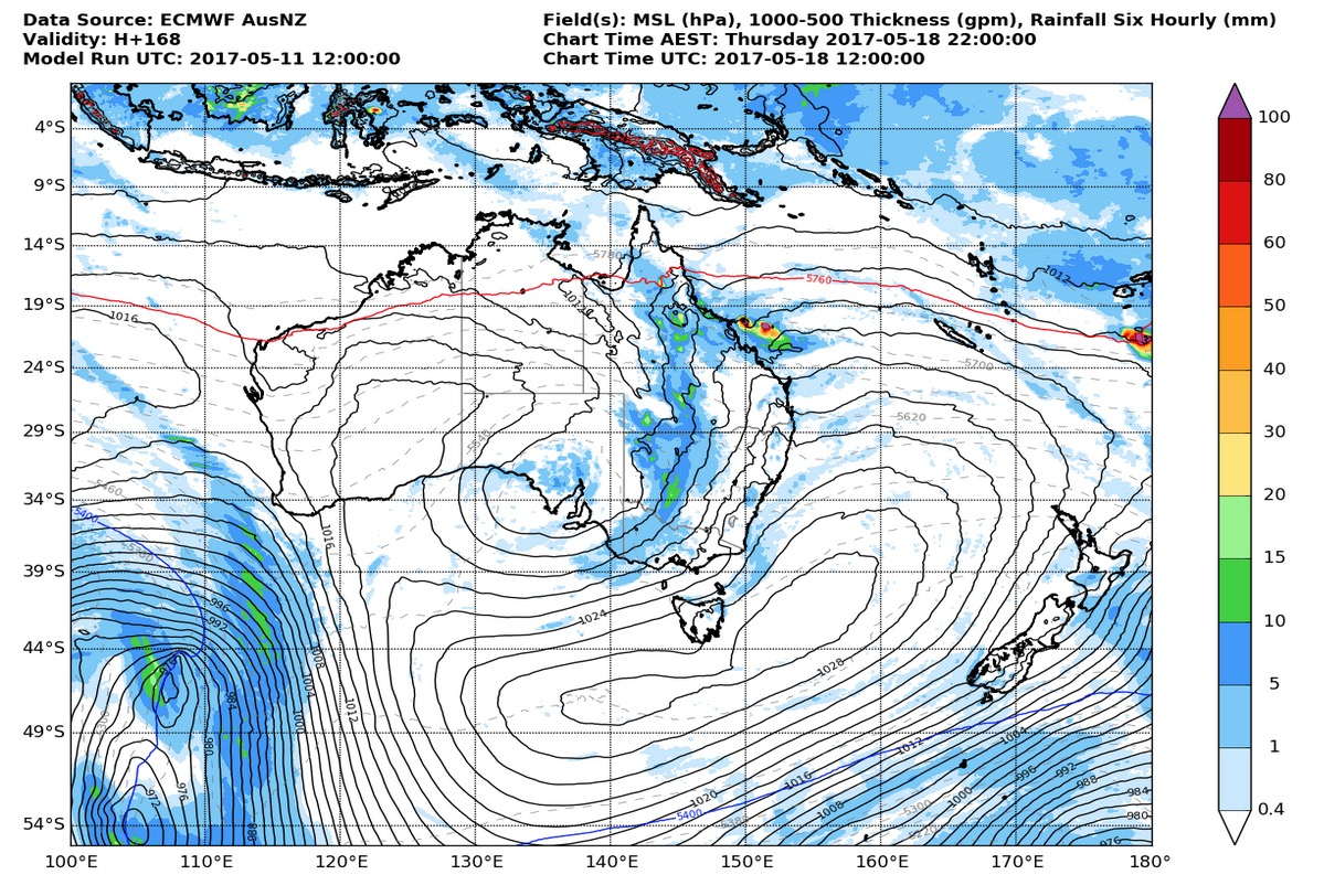 ECMWF model output from Metservice NZ