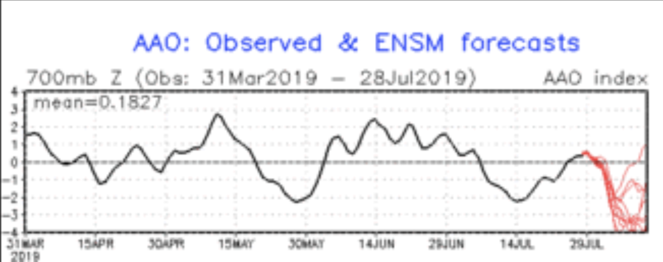 The Southern Annular Mode from April to now shown in black. The red lines indicate the forecast from a range of models.  (Please excuse the quality of the image - the new janesweather.com will show this in a much better way - stay tuned)