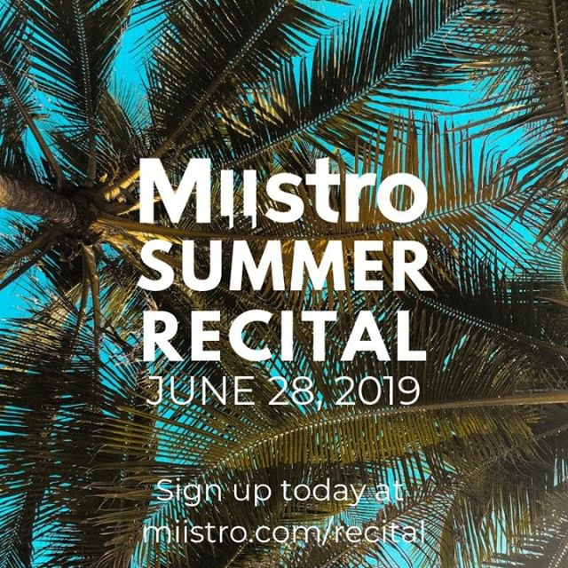 This Friday (June 28th) is the Miistro Summer Recital! If you want to show your friends and family how far you've come with your music lessons, there is still time to register! Sign up today: www.miistro.com/recital