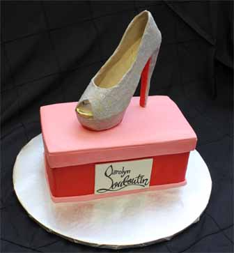 A Louboutin shoe....The structure underneath is not edible but it is covered in fondant. Kudos to the cake designers who can make shoes entirely out of sugar, it seems too fragile so I'm for extra support.