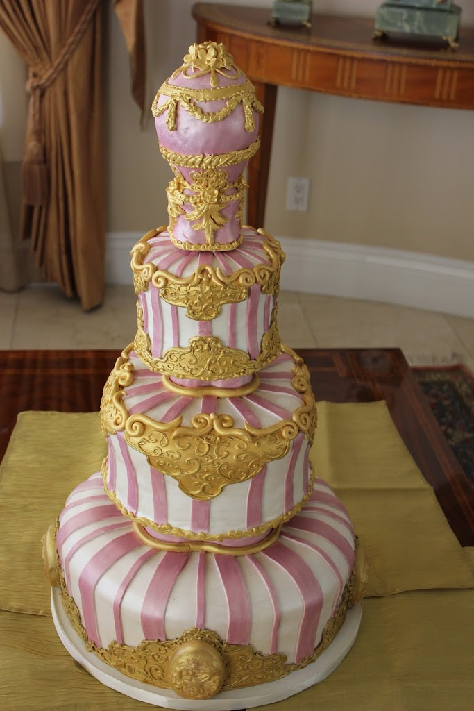 This Faberge inspired cake was for an anniversary. They loved over the top ornate decor
