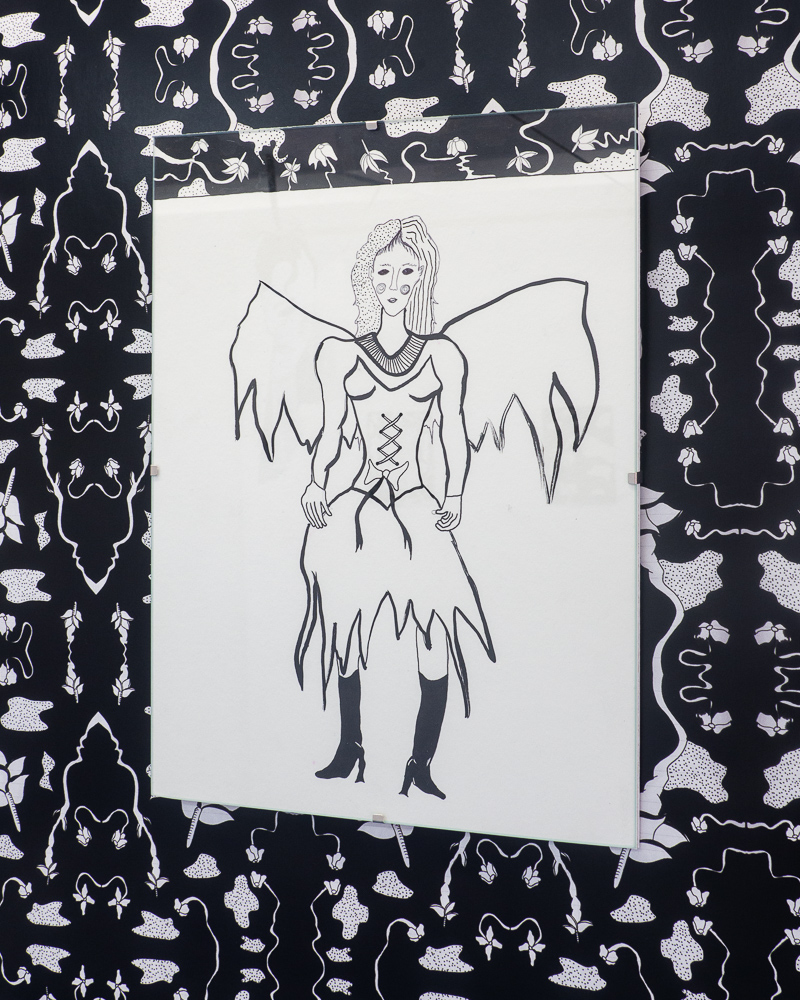"""""""Agatha Standing""""  Install shot from Night Shade  Pen/Ink/Pencil on Paper, 9""""x12"""" 2018"""